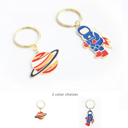 Wholesale Gifts Astronomy - Cute Astronaut Planet Space Pendant Keychains Astronomy Jewelry Science Galaxy Key Ring Accessories Gifts