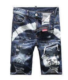 Wholesale Jeans Length Men - Wholesale-2018 Summer classic Washed Black Skull Short Jeans For Men Frazzle Skinny Knee Length Pants Punk Style Famous Brand
