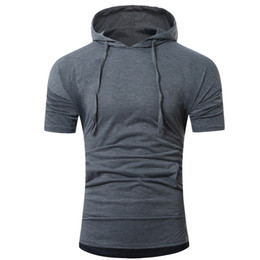 Wholesale Wholesale Luxury Clothing - T Shirt New Men Summer Tops Fashion Hooded Pullover Men's Short-sleeved T-shirt Cotton High Quality Luxury clothes tshirt 2018