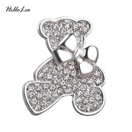 2f4a2915f Wholesale- 2016 Plated Gold Collar Bow Crystal Bear Brooch Pin Women Wedding  hijab pins Jewelry large brooches