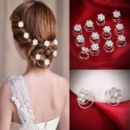 Wholesale Spin Pin Hair Clips - 12PCS Hairpins Twist Coils Hair Spin Pins Bridal Wedding Prom Crystal Rhinestone Hair Clips Headwear Jewelry Hair Accessories