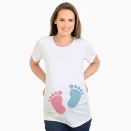 5c1da77d05d5e Baby footprint pregnant t shirts funny maternity tops white tees t-shirt  pregnancy clothes short sleeve pregnant women clothing