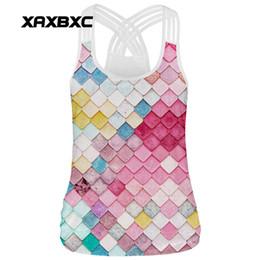 Wholesale Rainbow Tank Top - XAXBXC 002 Summer Sexy Girl Tank Tops Rainbow Mermaid Scale Plaid Print Rope Elastic Slim Fitness Women Top Sling Vest Waistcoat