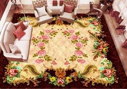 Canada Personnalisé Photo Plancher Papier Peint 3D Fleur rose Salon Salle De Bains 3D Carreaux De Mur Mural PVC Auto-Adhésif Papier Peint Rouleau supplier adhesive flowers bathroom Offre