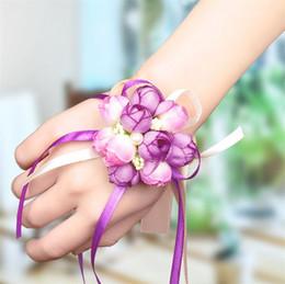 Группы искусство онлайн-Свадебные свадебные принадлежности корейский моделирование ткани искусство жемчужное запястье цветок свадебный запястье невесты цветок сестра группа ручной цветок T4H0224