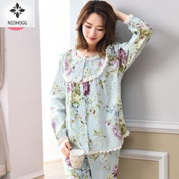 721e28c0e0 Female Spring autumn Long Sleeves Sweet Lovely Broken Flower Sets Pajama  Cotton Pijamas Women Pajama Set Floral Sexy Sleepwear