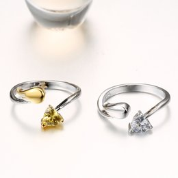 Wholesale gold 18k rings wings - Adjustable angel wings ring C zircon 925 Silver gold-color rings for women fashion jewelry wholesale female gifts R299