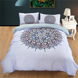 Bella biancheria da letto blu online-Commercio all'ingrosso set di biancheria da letto della boemia queen size India blu copripiumino Mandala con federe letto Set Beautiful Bedclothes