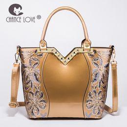 Fourre-tout en paillettes d'or en Ligne-vente en gros 2018 nouveau sac femme en cuir verni brillant femmes sac à main de paillettes en forme de fleur Tote épaule or bleu sac Messenger