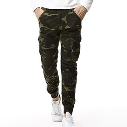 Wholesale Mens Cotton Camouflage Pants - 2018 Fashion Spring Mens Tactical Cargo Joggers Men Camouflage Camo Pants Army Military Casual Cotton Pants Hip Hop Male Trouser