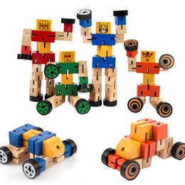 2019 juguetes de enredo Enredos de madera con un robot de goma Transfomers Juguetes de madera Juguetes educativos para niños Modelo Robots de construcción Regalos para niños juguetes de enredo baratos