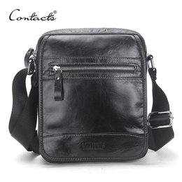 Wholesale Open Small Business - CONTACT'S New Collection 2017 Fashion Men Bags Genuine Leather Messenger Bag High Quality Man Brand Business Bag Men's Handbag