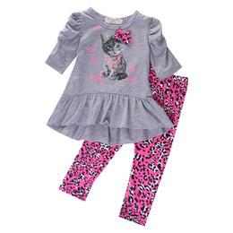 Wholesale Kids Leopard Print Pants - Kids Baby Girls Cat Printed T-shirt Tops Dress+Leopard Pants 2PCS Outfits Set 2016