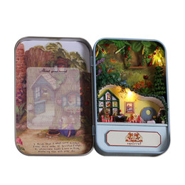 Wholesale Mini House Kits - 3D Wooden DIY Handmade Box Secret Dollhouse Miniature Box Cute Mini Doll House Assemble Kits Gift Toys Squirrel Paradise