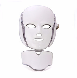 Wholesale Facial Massage Mask - LED 7Colors Light Microcurrent Facial Mask Machine Photon Therapy Skin Facial Neck Mask Acne Whitening Electric Device Massage