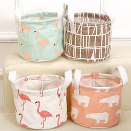Wholesale fabric baskets handles - Flamingo Bear Storage Baskets Bucket Kids Room Toys Bins Clothing Handle Organizer Laundry Bags Box 14*18cm DHL Ship HH7-426