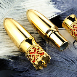 Wholesale Plastic For Engraving - Gold Crown DIY Lipstick Tube Top Quality Bullet Handmade 12.1mm Batom Tubes Makeup Tools for Lady Princess