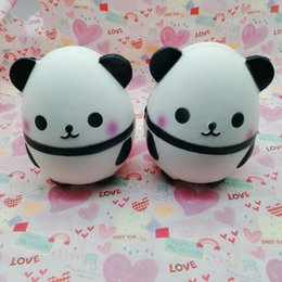 Wholesale Egg Squishy - Simulation Panda Eggs Squishy Soft Scented Squeeze Phone Pendant White Black Lovely PU Squishies For Children Killing Time 25hb B