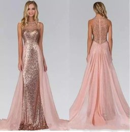 Wholesale White Rose Lace Wedding Dresses - Rose Gold Sequined Bridesmaid Dresses 2018 New Summer Maid of Honor Gowns With Overskirt Train Illusion Back Formal Wedding Guest Dresses