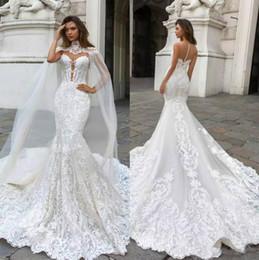 Wholesale high neck wedding lace cape - 2018 Gorgeous Mermaid Lace Wedding Dresses With Cape Sheer Plunging Neck Bohemian Wedding Gown Appliqued Plus Size Bridal Vestidos De Nnovia