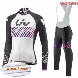 Wholesale Custom Cycling Jerseys - LIV Cycling Winter Thermal Fleece jersey (bib) pants sets Mountain Bike Equipment Fleece Top Pants Custom Style New c1724