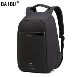 Wholesale Computer Hard - BAIBU Men Backpack Anti theft multifunctional Oxford Casual Laptop Backpack With USB Charge Waterproof Travel Bag Computer Bag