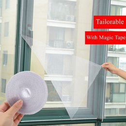 Wholesale Magic Protectors - White Door Window Gauze Net Magic Tape 2Pcs Set Mesh Netting Insect Fly Bug Screen Curtain Mosquito Net Protector Home Textiles