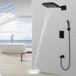 messing regendusche köpfe Rabatt Schwarz Dusche Thermostat Wasserfall Regen Duschkopf Handbrause Set aus massivem Messing Bad Wasserhahn Wandmontage System