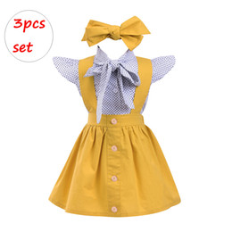 Wholesale polka dot skirt ladies - Girl 3PCS Outfit INS little lady patchwork Clothing Set Kids short sleeve polka dot yellow skirt with headband