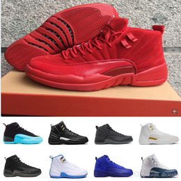 Wholesale Halloween Deer - [With Box]Nen high quality 12 GS Barons Red deer Nylon all red Men Basketball Shoes 12s women Sneakers 5 US 36-47