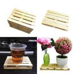 mini tableware Promo Codes - 20PCS Wooden Drink Coaster Tea Coffee Cup Mat Pads Tableware Crafts Decor Mini Pallet