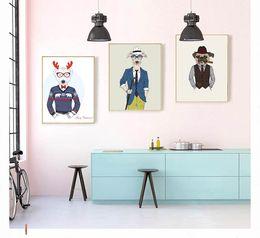 oil painting cartoon dog Australia - WANGART Decoration Picture Prints Cartoon Animal Dog Bear Fox Oil Painting Canvas for Living Room Modern Wall Art Nordic Poster