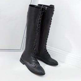 low heel long boots Promo Codes - Leisure Low Heel Motorcycle Boots Women Black Long Boots Fashion Female Lace Up Knee High Autumn Winter Shoes