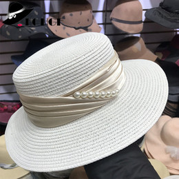 1de98b0e3af FGHGF Elegant Panama Style Women Wide Brim Straw Hat Silk Ribbon Pearls  Side Ladies Fedoras Hat Summer Boater Cap