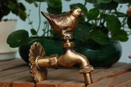 Uccelli d'ottone online-Rubinetto da giardino in ottone a forma di animale rurale Rubinetto da giardino con rubinetto in bronzo antico passero per lavatrice