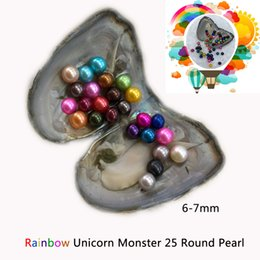 Wholesale Wholesale Shell Jewellery - Rainbow Unicorn Monster Freshwater Oyster 25 Pearls Inside AAA+ Grade 6-7mm Round Pearl Individual Packing DIY Jewellery For Party