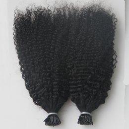 2020 extensões ligadas do cabelo humano Virgin mongol Afro Kinky cabelo encaracolado Whole cabeça 200G I Tip extensões do cabelo humano pre ligado vara queratina extensões de cabelo ponta 200S extensões ligadas do cabelo humano barato