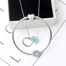 Charme unique pandora en Ligne-Mode 10 couleurs unique bracelet en cristal / collier en forme de coeur ensemble adapté aux perles de charme de style européen Pandora bijoux de bracelet bricolage