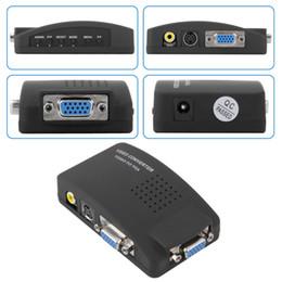 s video tv av Rabatt TV-Signal-Konverter 1 Satz hochauflösendes digitales AV / S-Video zu VGA TV-Signal-Konverter-Adapter Konvertierung von S-Video zu VGA-Switch