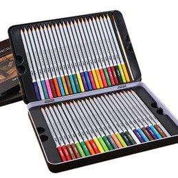 Papier crayon de couleur en Ligne-Deli Water Color Pencil Set 24/36/48/72 couleurs crayon soluble pour le dessin peinture croquis étain / boîte de papier Art School Supplies