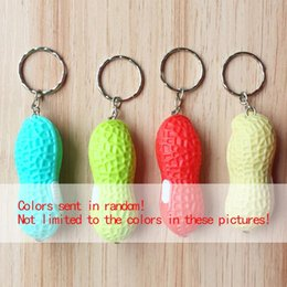 Wholesale Mini Flashing Led Keychain - 600pcs lot RA LED Cute Cute Led Simulate Peanut Lights Bright Mini Peanut Torch Flash light Keychain 1LED Flashlight Gift YYA1022