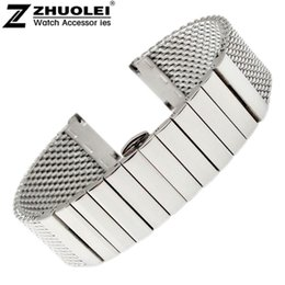 Wholesale mesh bracelet 22mm - Watch Strap 20mm 22mm Stainless Steel SHARK mesh bracelet Diving Watch new wristband Free Shipping