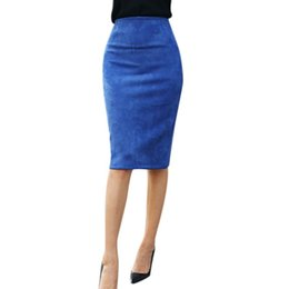 Wholesale Plus Size Yellow Pencil Skirt - oioninos Women Suede Pencil Skirts Causal High Waist Stretch Sexy Slim Ladies Skirt 2017 Plus Size