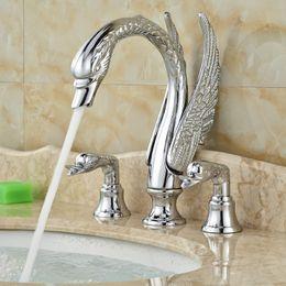 Wholesale Swan Sink Faucets - Luxury Swan Shape Dual Handle Brass Bath Sink Basin Mixer Faucet Deck Mount 3 Hole Mixers Taps