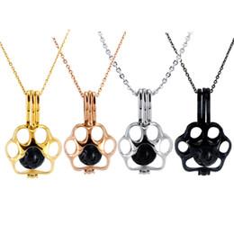 Cadena de perlas negras online-Paw Print Oyster Pearl Jaula Colgante Cadena Rolo de acero inoxidable para mujer Plata / Oro / Oro rosa / Negro Collar con una pata linda