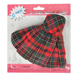 Wholesale green elf costume - E-TING 1 6 Handmade Clothing For Elf Doll Accessories On Costume Shelves Lifestyle Red-Green Plaid Dress Christmas Toys Gifts