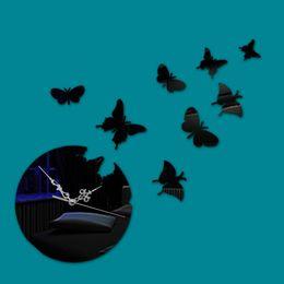 Papillon horloge murale design moderne en Ligne-Creative 3D bricolage huit papillon mode décoration de la maison moderne de luxe design acrylique quartz aiguille art miroir horloge murale