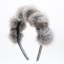 Wholesale Real Hair Accessories - Wholesale-2017 Real Fox fur pompom 5cm full head children fashion hairband winter style children hair accessories