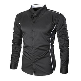 Wholesale office blouses collars - Novelty Patchwork Men Shirt Wedding Style Party Shirts New Arrival 2018 Office Mens Blouse Male Workout Long Sleeve Comfortable