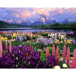 Farbe zahlen blumen online-Rahmenlose Blume Diy Malen nach Zahlen Landschaft Modern Home Wall Art Decor handgemaltes Ölgemälde für einzigartiges Geschenk